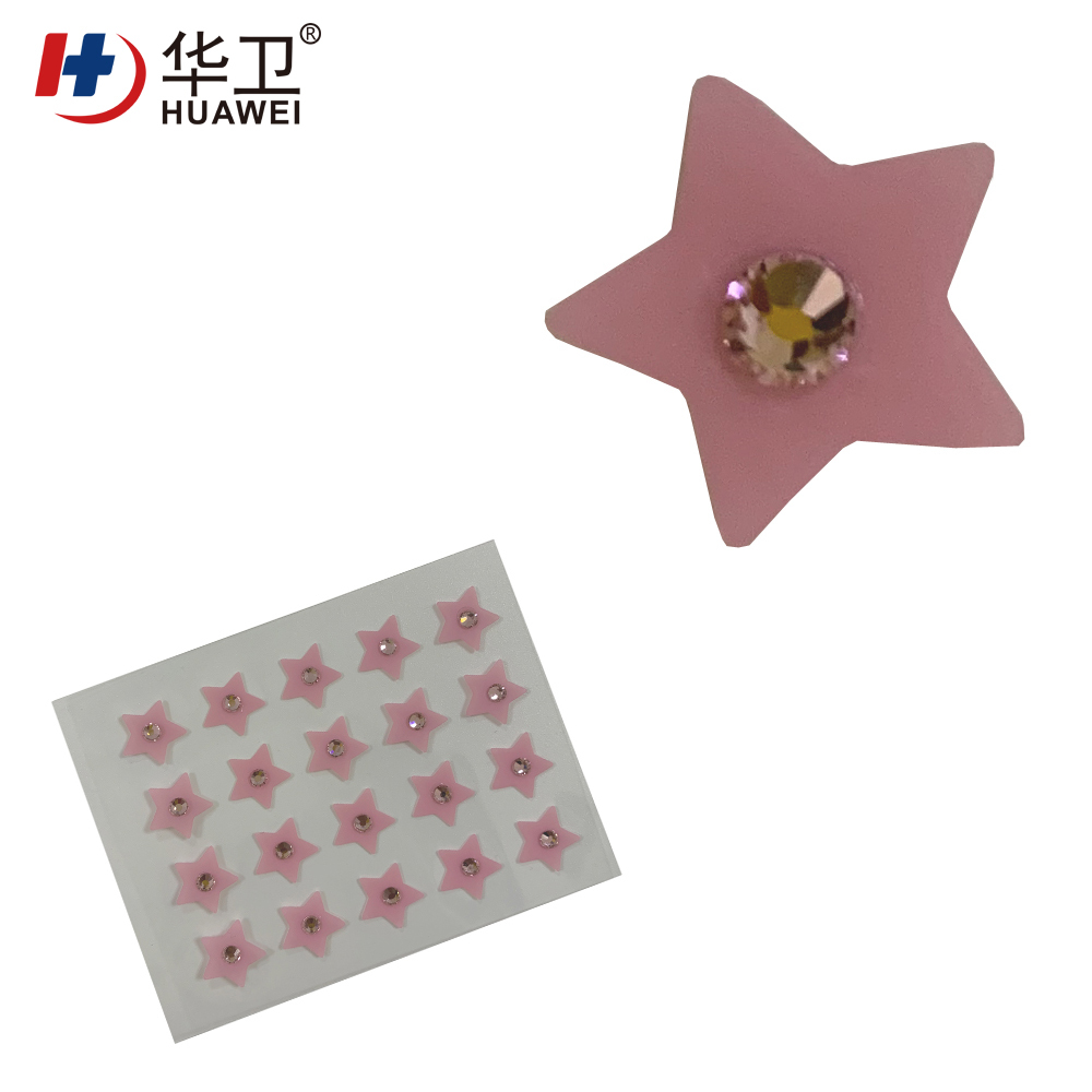 Cover and treat acne, acne patch/Pink five-pointed star acne patch set with artificial diamond